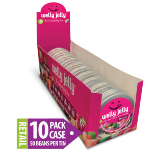 CBD EDIBLE JELLY BEANS WELLY JELLY POS-SHIPPER-DISPLAY CASE TIN 50 COUNT