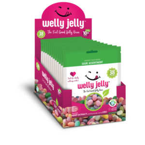 CBD INFUSED JELLY BEANS -- WELLY JELLY - 12 - PACK CASE SOUR