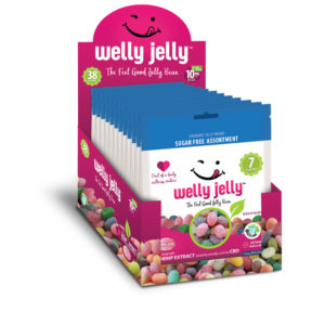CBD INFUSED JELLY BEANS -- WELLY JELLY - 12 - PACK CASE SUGAR FREE